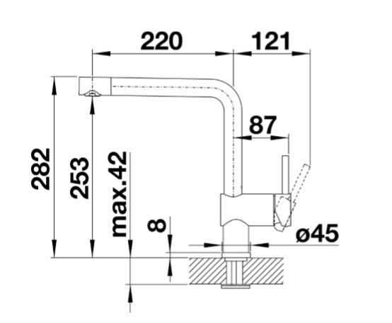Blanco Linus 525806 Eenhendel Keukenkraan Special Mat Zwart