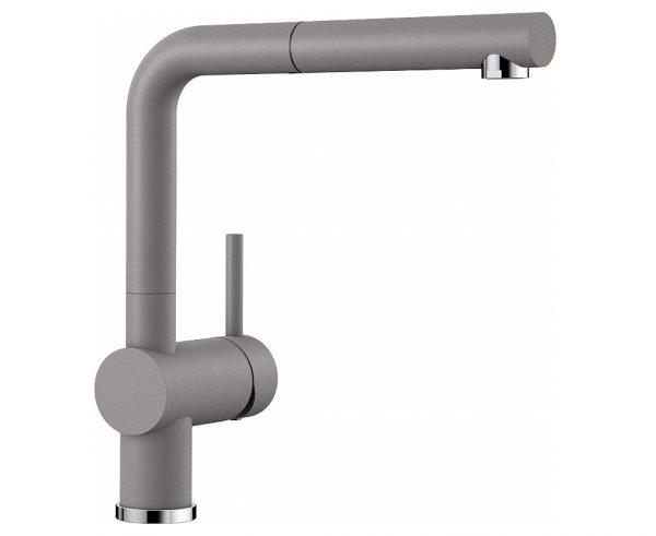 Blanco Linus-S 516689 Eenhendel Keukenkraan Met Uittrekbare Handdouche Silgranit Look Aluminium Metallic