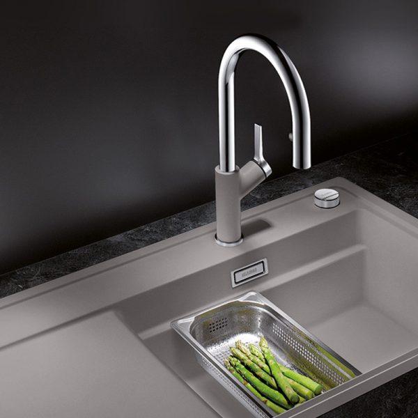 Blanco Carena-S Vario 521360 Eenhendel Keukenkraan Met Uittrekbare Handdouche Silgranit Look Aluminium Metallic