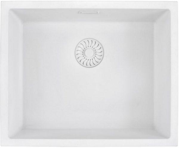Caressi White Line Cagrpp50Wh-Tu Spoelbak Graniet Met Witte Korfplug Onderbouw Of Opbouw