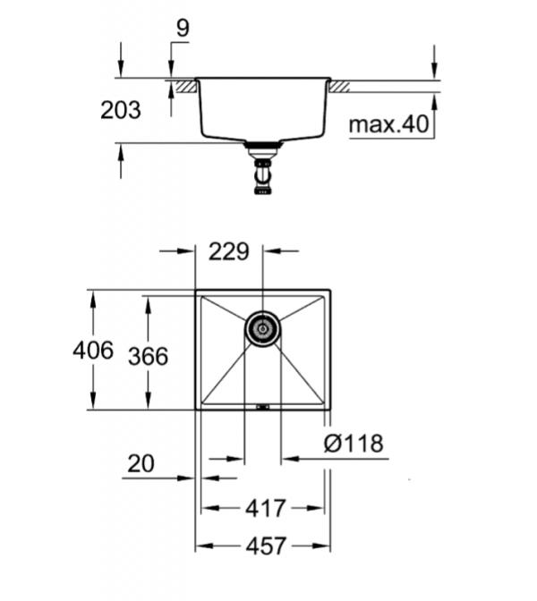 Grohe Spoelbak Grijs Graniet Voor Onderbouw Of Opbouw