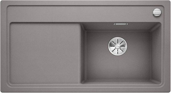 Blanco Zenar 5-S 523880 Aluminium Metallic Spoelbak Silgranit Inclusief Draaiknopbediening Inclusief Snijplank Onderbouw Of Opbouw