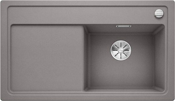 Blanco Zenar 45-S 523711 Aluminium Metallic Spoelbak Rechts Silgranit Inclusief Draaiknopbediening Inclusief Snijplank Onderbouw Of Opbouw