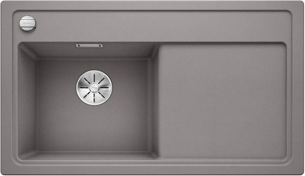 Blanco Zenar 45-S 523808 Aluminium Metallic Spoelbak Links Silgranit Inclusief Draaiknopbediening Onderbouw Of Opbouw