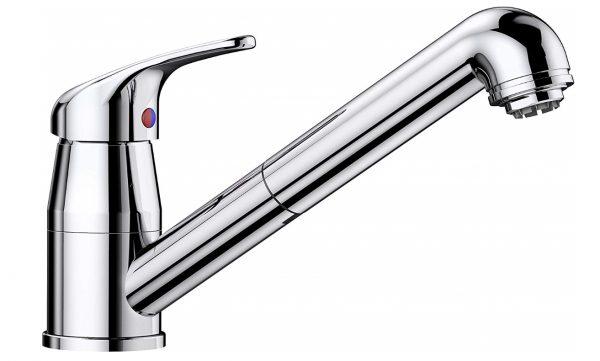 Blanco Daras-S 519724 Eenhendel Keukenkraan Met Uittrekbare Handdouche Voor Lage Druk Chroom