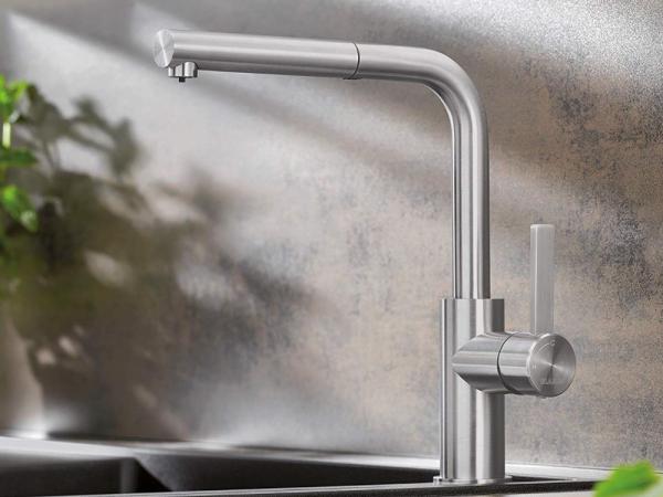 Blanco Lanora-S 525126 Eenhendel Keukenkraan Met Uittrekbare Handdouche Voor Lage Druk Volledig Rvs