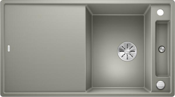 Blanco Axia Iii 5-S 523218 Spoelbak Silgranit Parelgrijs Inclusief Draaiknopbediening Inclusief Glazen Snijplank Omkeerbaar Onderbouw Of Opbouw