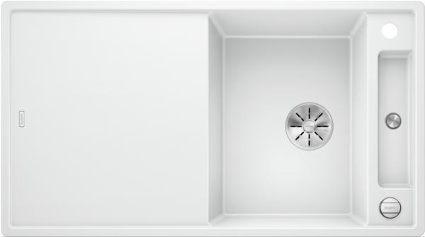 Blanco Axia Iii 5-S 523219 Spoelbak Silgranit Wit Inclusief Draaiknopbediening Inclusief Glazen Snijplank Omkeerbaar Onderbouw Of Opbouw