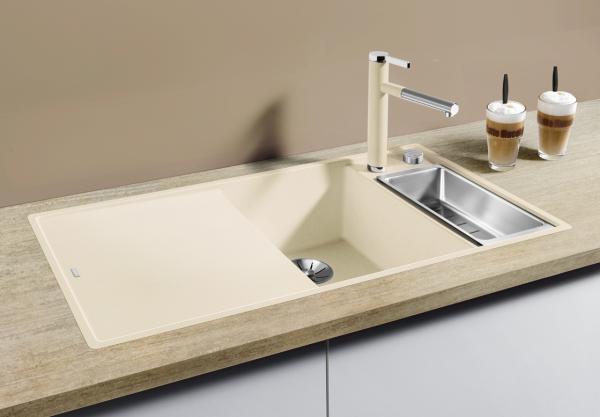 Blanco Axia Iii 6 S-F 523493 Spoelbak Rechts Silgranit Jasmijn Inclusief Draaiknopbediening Inclusief Glazen Snijplank Vlakbouw Of Onderbouw