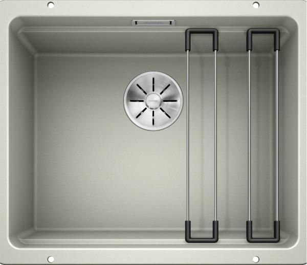 Blanco Etagon 500-U 522230 Spoelbak Silgranit Parelgrijs Inclusief Rails Onderbouw