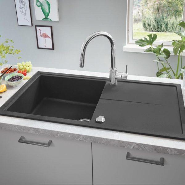 Grohe Spoelbak Zwart Graniet Inclusief Draaiknopbediening Omkeerbaar Opbouw Of Onderbouw