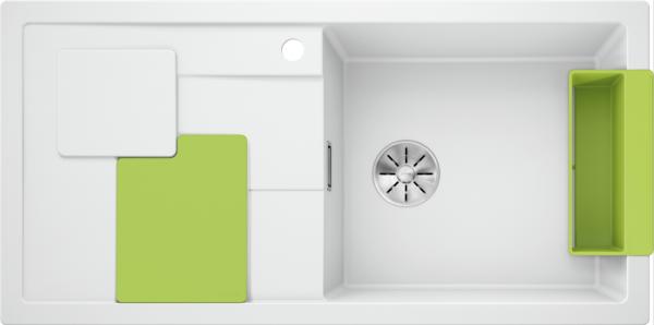 Blanco Sity Xl 6 S 525063 Spoelbak Rechts Silgranit Wit Inclusief Accessoires Kiwi Groen Onderbouw Of Opbouw