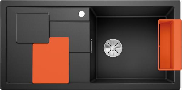 Blanco Sity Xl 6 S 525056 Spoelbak Rechts Silgranit Antraciet Inclusief Accessoires Orange Oranje Onderbouw Of Opbouw