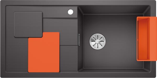 Blanco Sity Xl 6 S 525057 Spoelbak Rechts Silgranit Rotsgrijs Inclusief Accessoires Orange Oranje Onderbouw Of Opbouw