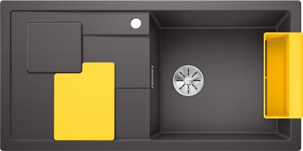 Blanco Sity Xl 6 S 525053 Spoelbak Rechts Silgranit Rotsgrijs Inclusief Accessoires Lemon Geel Onderbouw Of Opbouw
