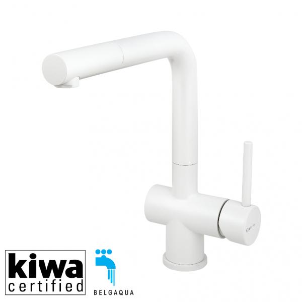 Caressi Keukenkraan Ca108Whu Eco White Line Rvs Eenhendel Keukenkraan Met Uittrekbare Handdouche Wit