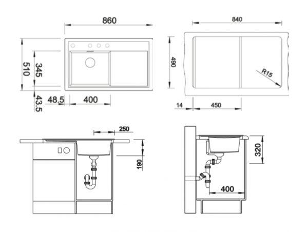 Blanco Zenar 45-S 523802 Antraciet Spoelbak Links Silgranit Inclusief Draaiknopbediening Onderbouw Of Opbouw