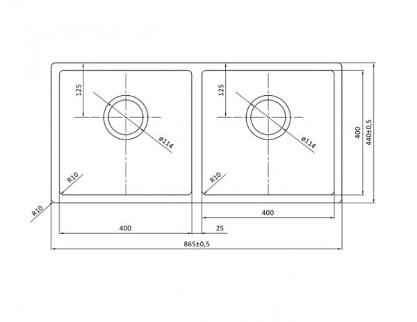 Lorreine 4040R Rvs Dubbele Spoelbak Onderbouw-Vlakbouw-Opbouw