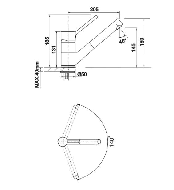 Blanco Antas-S 516074 Keukenkraan Keramiek-Look Aluminium Metallic / Chroom Met Uittrekbare Handdouhce