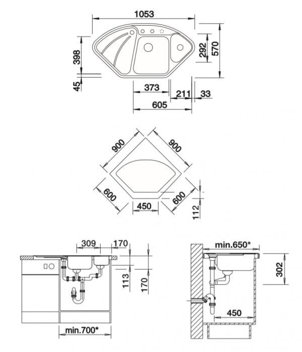 Blanco Blancodelta-If 523723 Spoelbak Basalt Keramiek Draaiknopbediening Opbouw