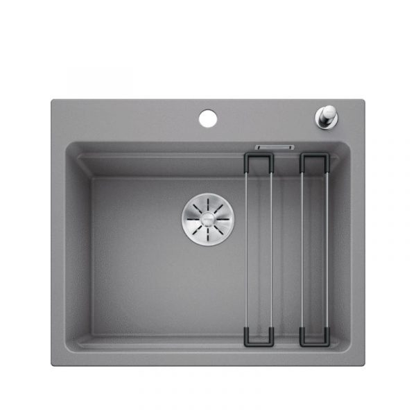 Blanco Etagon 6 524531 Silgranit Spoelbak Aluminium Metallic Inclusief Draaiknopbediening Inclusief Rails Opbouw