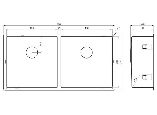 Lorreine 4040 Sp Rvs Dubbele Spoelbak Onderbouw-Vlakbouw-Opbouw
