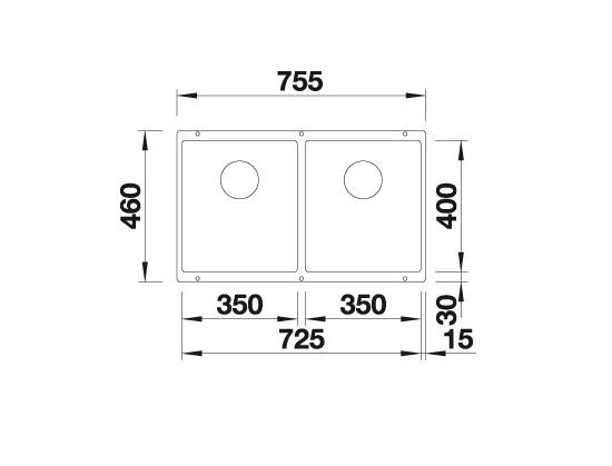 Blanco Subline 350/350-U 523576 Dubbele Spoelbak Silgranit Aluminium Metallic Onderbouw