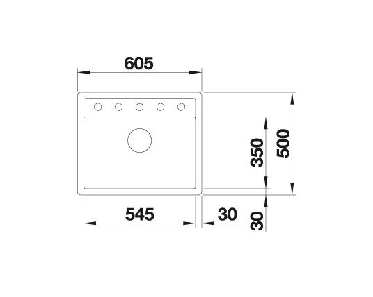 Blanco Dalago 6-F 514771 Spoelbak Silgranit Wit Inclusief Draaiknopbediening Vlakbouw Of Onderbouw