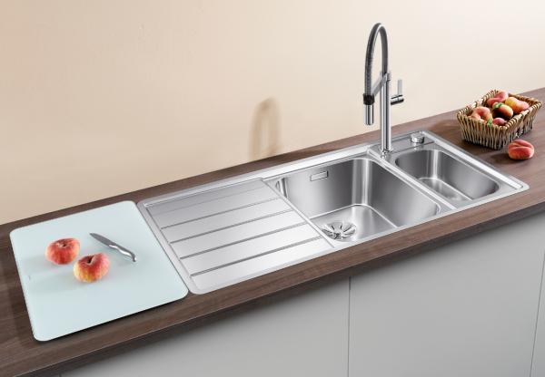 Blanco Axis Iii 6 S-If 522104 Anderhalve Spoelbak Rechts Rvs Inclusief Draaiknopbediening Inclusief Glazen Snijplank Vlakbouw Of Opbouw