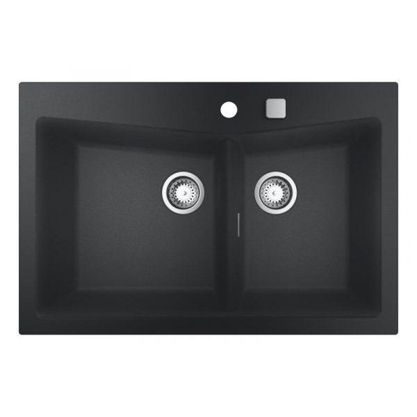 Grohe Dubbele Spoelbak Zwart Graniet Inclusief Draaiknopbediening Opbouw Of Onderbouw