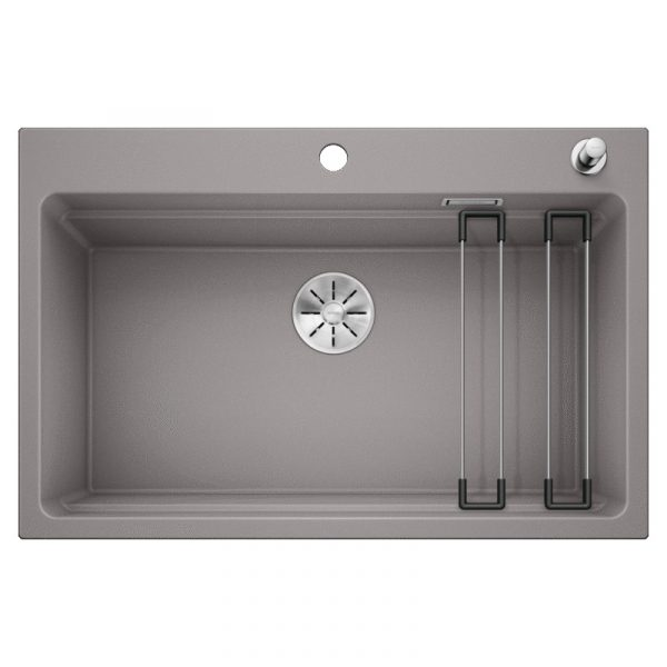 Blanco Etagon 8 525179 Silgranit Spoelbak Aluminium Metallic Inclusief Draaiknopbediening Inclusief Rails Opbouw