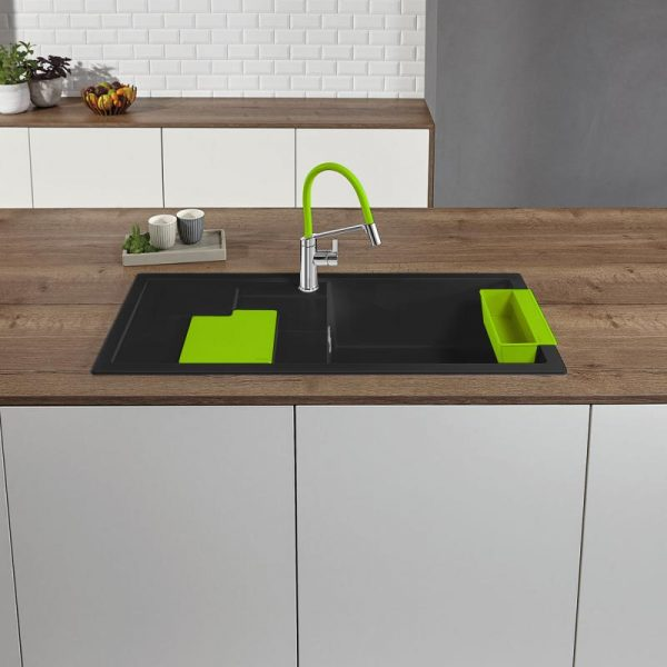 Blanco Sity Xl 6 S 525060 Spoelbak Rechts Silgranit Antraciet Inclusief Accessoires Kiwi Groen Onderbouw Of Opbouw