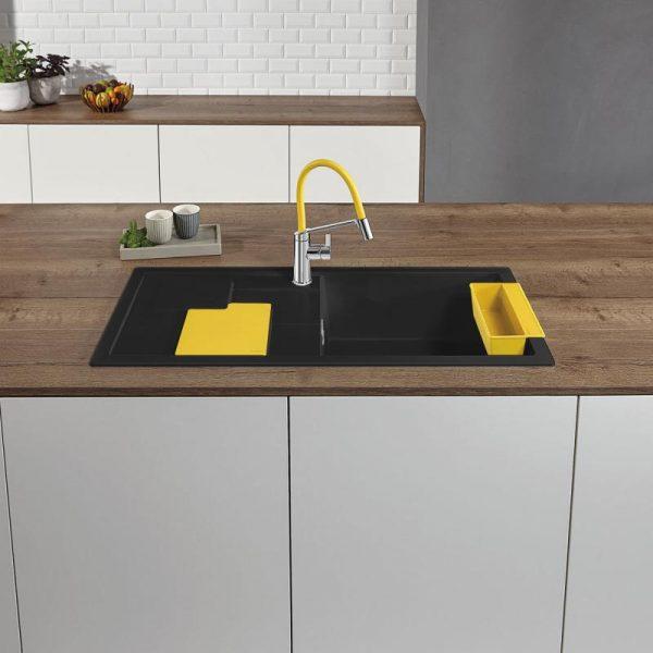 Blanco Sity Xl 6 S 525052 Spoelbak Rechts Silgranit Antraciet Inclusief Accessoires Lemon Geel Onderbouw Of Opbouw