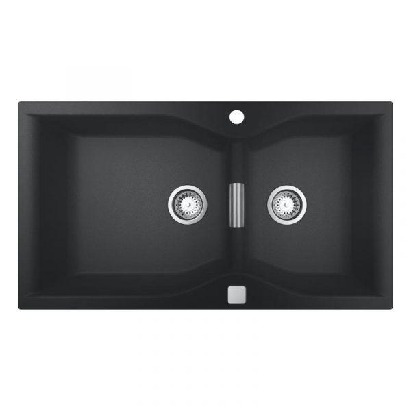 Grohe Dubbele Spoelbak Zwart Graniet Inclusief Draaiknopbediening Opbouw