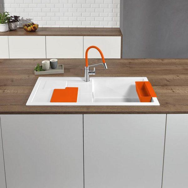 Blanco Sity Xl 6 S 525059 Spoelbak Rechts Silgranit Wit Inclusief Accessoires Orange Oranje Onderbouw Of Opbouw