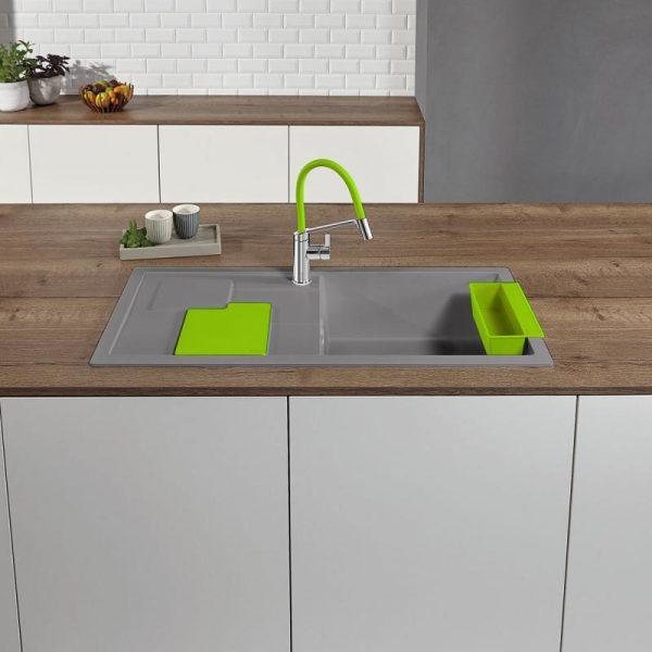 Blanco Sity Xl 6 S 525062 Spoelbak Rechts Silgranit Aluminium Metallic Inclusief Accessoires Kiwi Groen Onderbouw Of Opbouw
