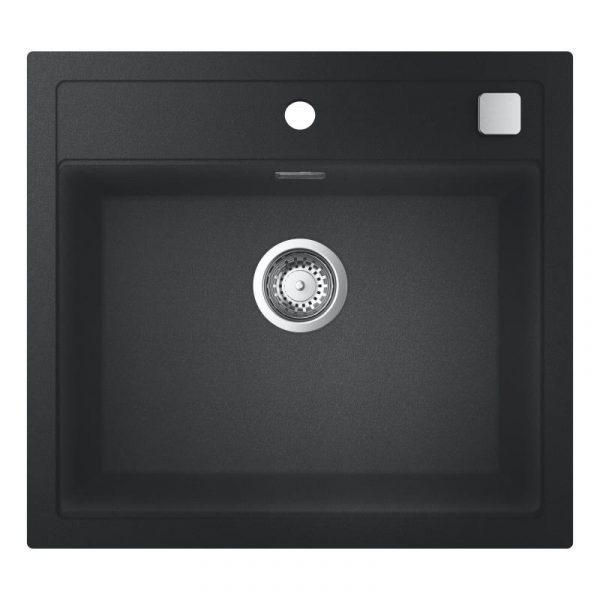 Grohe Spoelbak Zwart Graniet Inclusief Draaiknopbediening Opbouw Of Onderbouw