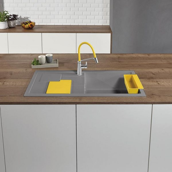 Blanco Sity Xl 6 S 525054 Spoelbak Rechts Silgranit Aluminium Metallic Inclusief Accessoires Lemon Geel Onderbouw Of Opbouw