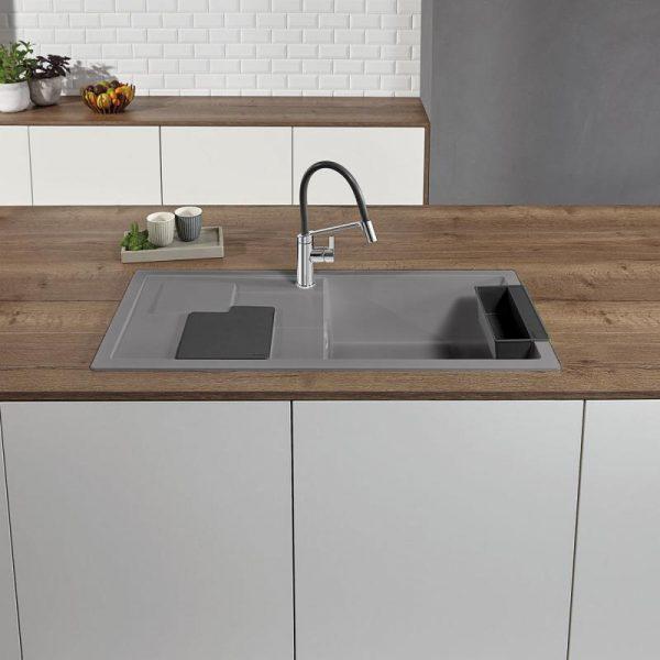 Blanco Sity Xl 6 S 525050 Spoelbak Rechts Silgranit Aluminium Metallic Inclusief Accessoires Lavagrijs Onderbouw Of Opbouw