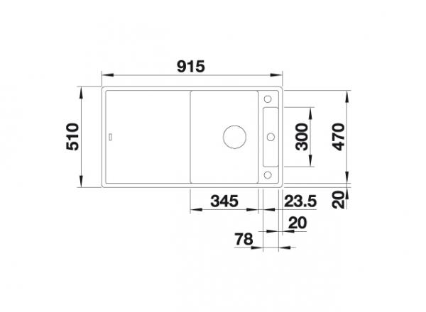 Blanco Axia Iii 5-S 523224 Spoelbak Silgranit Café Inclusief Draaiknopbediening Inclusief Glazen Snijplank Omkeerbaar Onderbouw Of Opbouw