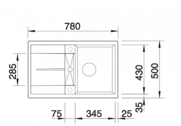 Blanco Metra 45 S 525311 Silgranit Betonlook Spoelbak Inclusief Draaiknopbediening Omkeerbaar Opbouw Of Onderbouw