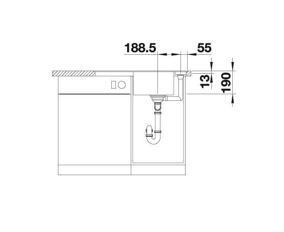 Blanco Axia Iii 45 S-F 523196 Spoelbak Silgranit Wit Inclusief Draaiknopbediening Inclusief Houten Snijplank Omkeerbaar Vlakbouw Of Onderbouw