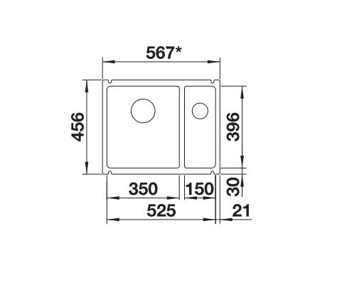 Blanco Subline 350/150-U 523742 Anderhalve Spoelbak Keramiek Magnolia Glans Onderbouw