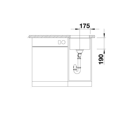 Blanco Subline 320-U 523411 Spoelbak Silgranit Jasmijn Onderbouw