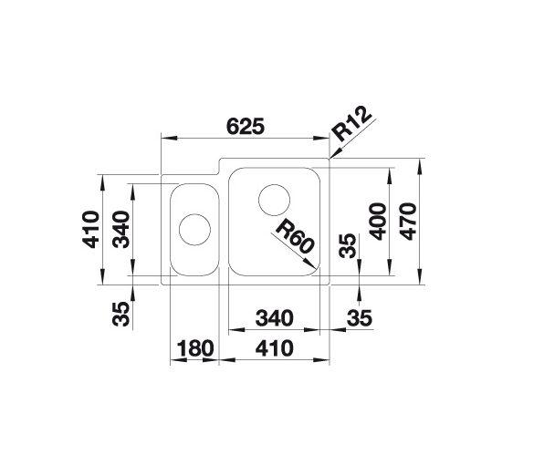 Blanco Supra 340/180-If 523366 Anderhalve Spoelbak Rvs Vlakbouw Of Opbouw