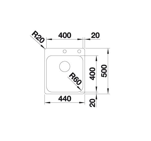 Blanco Supra 400-If/a 523357 Spoelbak Rvs Inclusief Draaiknopbediening Vlakbouw Of Opbouw