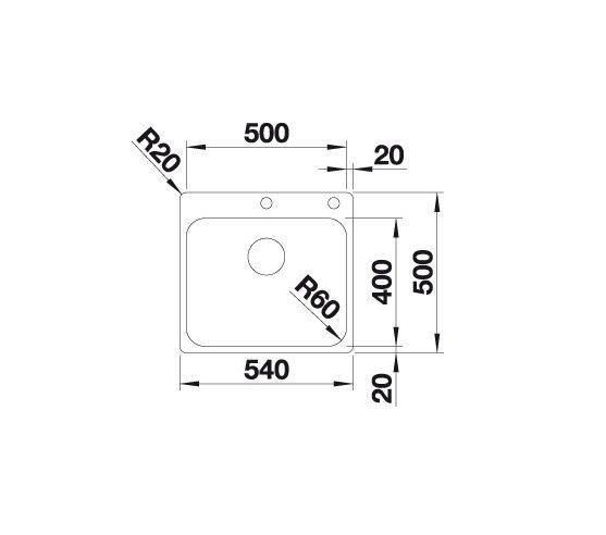 Blanco Supra 500-If/a 523362 Spoelbak Rvs Inclusief Draaiknopbediening Vlakbouw Of Opbouw