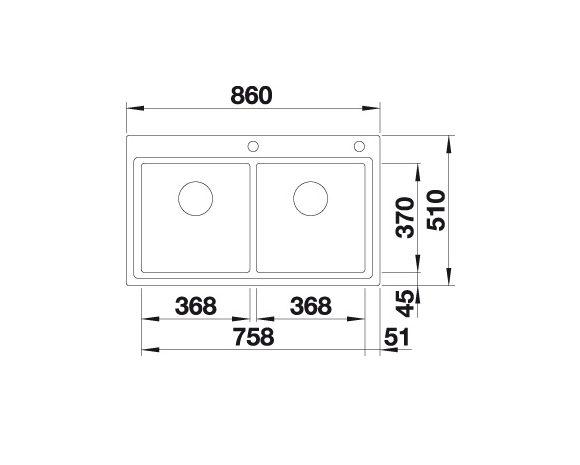 Blanco Divon Ii 8-If 521663 Dubbele Spoelbak Rvs Inclusief  Draaiknopbediening Vlakbouw Of Opbouw
