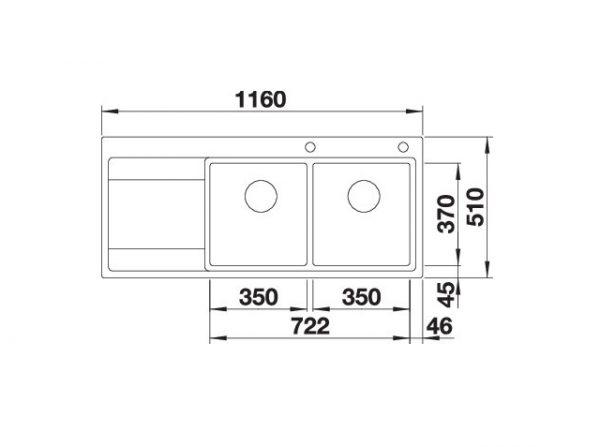 Blanco Divon Ii 8 S-If 521665 Dubbele Spoelbak Rechts Rvs Inclusief Draaiknopbediening Vlakbouw Of Opbouw