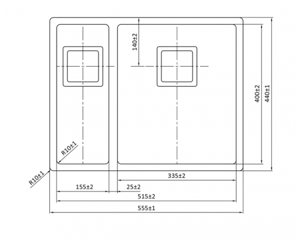 Lorreine 1534Vk Rvs Spoelbak Kantelbare Korfplug Onderbouw-Vlakbouw-Opbouw